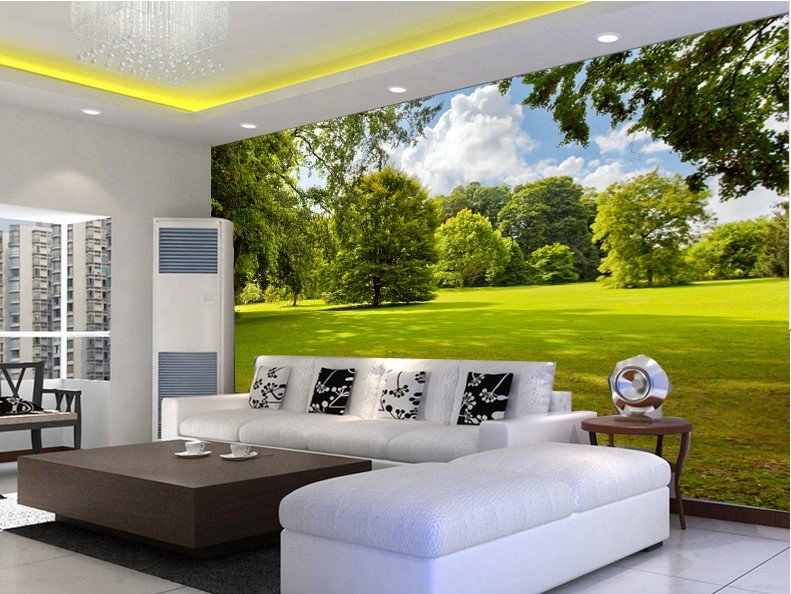 Custom Photo Wallpaper Simple Landscape Living Room Bedroom 3d Mural  Wallpaper Green Landscape Quality Flash Silver Cloth Em Papéis De Parede De  ... Part 20