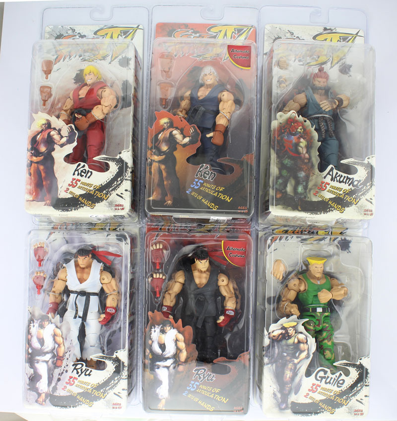 Free Shipping 7 NECA Street Fighter IV Survival Model Ken Ryu Guile Akuma Boxed PVC Action Figure Collection Model Toy Gift neca player select 18cm ultra street fighter 4 survival model ken masters ryu guile gouki action figure toy 6 style white black