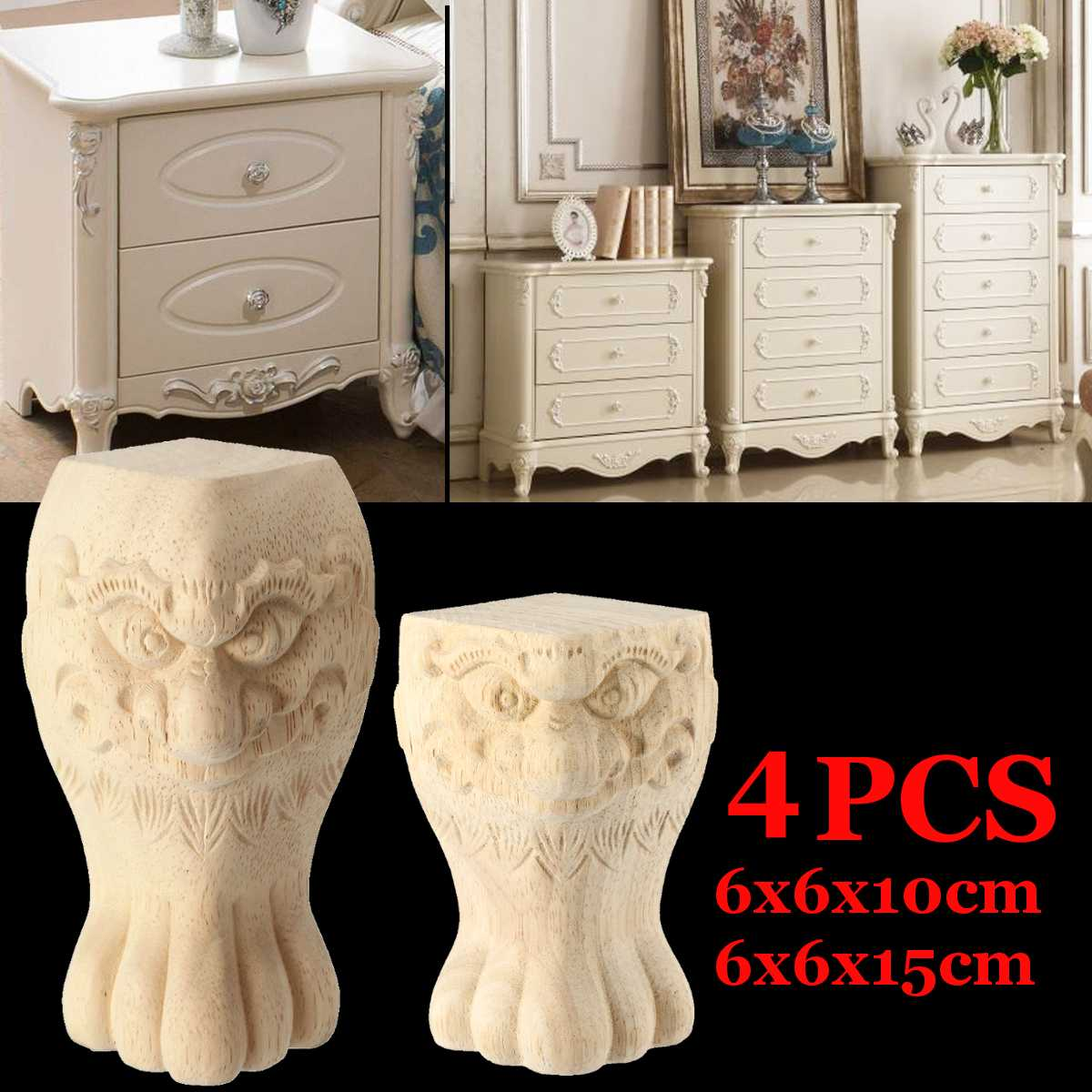 4Pcs 10/15cm European Carved Furniture Legs Foot Wood TV Cabinet Seat Foot Bathroom Cabinet Legs