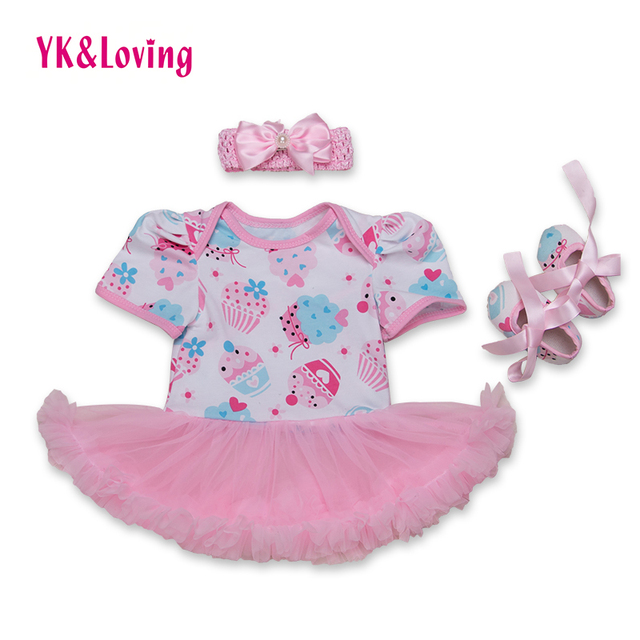 Vestido de princesa Pink Baby Girl Clothes Set Shortsleeve Mameluco con Volantes de Encaje Niños Colthes for Kids Summer 2016