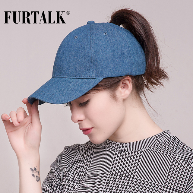 d06a1f85ec9 FURTALK Washed Denim Ponytail Baseball Cap Women Messy Bun Baseball Hat  Snapback Casquette hats Gorras HTPU008