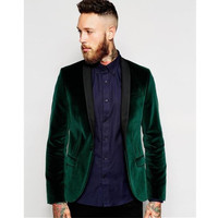 Green velvet jacket black shawl lapel groom groomsman men suit jacket best man (jacket + pants)