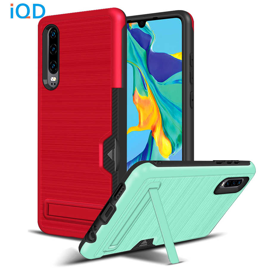 IQD For HuaWei Mate 20 P30 Pro Case Card Slot Holder Cover Ultra Thin Protective Kickstand Dual Layer Shock Rugged PC+Soft TPU