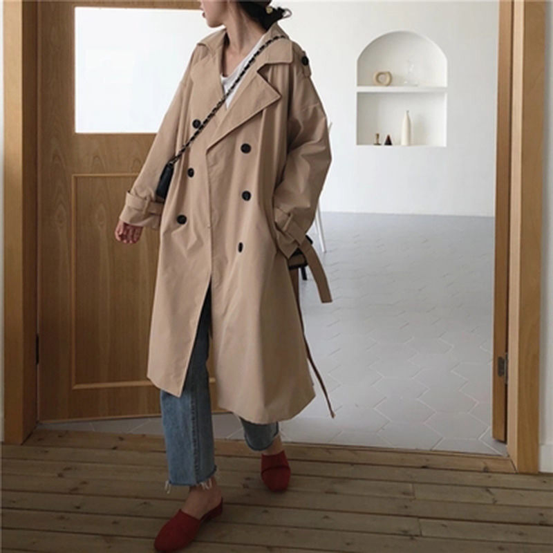 2019 New Fashion Double Breasted Mid-long   Trench   Coat Women Khaki Slim Belt Cloak Windbreaker Female Abrigos Brazil LH811