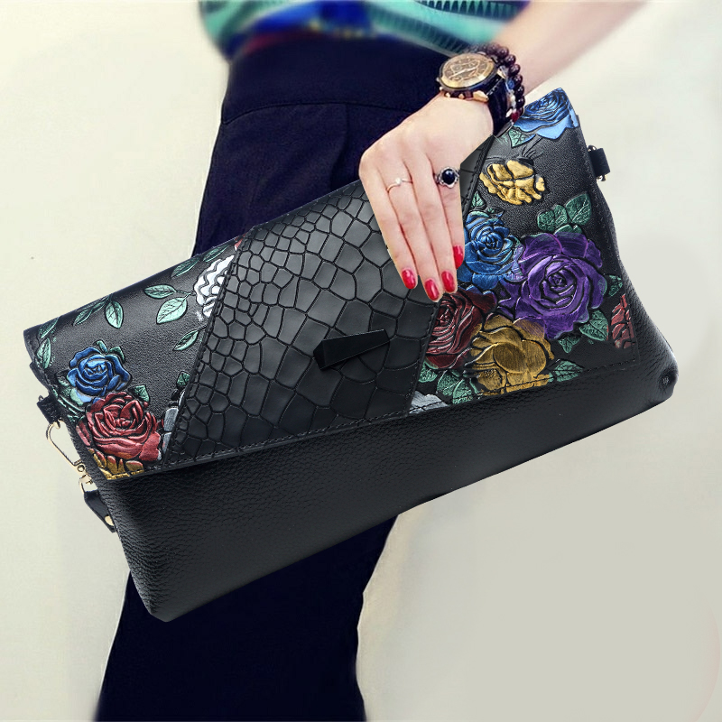 Vintage Serpentine Flower Women Cow Genuine Leather Day Clutches Lady Shoulder Evening Envelope Crossbody Bags Wristlet Hand Bag vintage serpentine genuine leather woman clutches evening bag crossbody chain shoulder bag handbag clutch wallet lady long purse