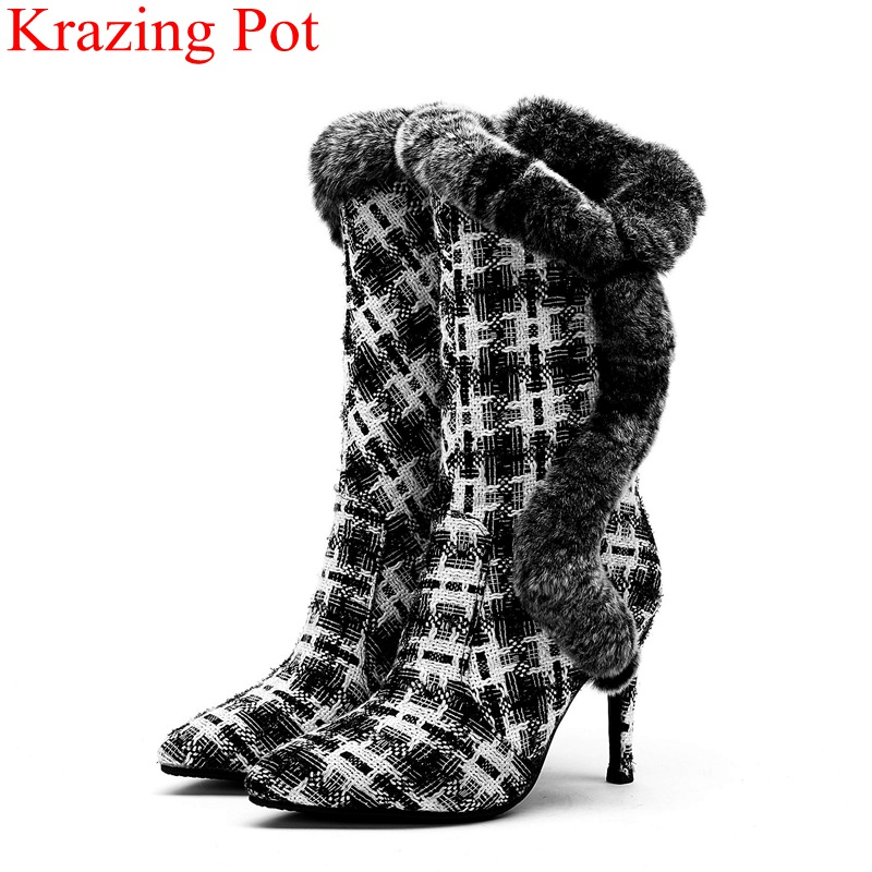 new arrival big size elegant super high nightclub women mid-calf boots office lady fur warm pointed toe style winter shoes L41 new arrival big size elegant super high nightclub women mid-calf boots office lady fur warm pointed toe style winter shoes L41