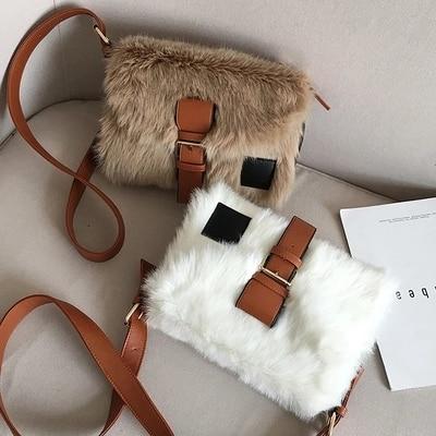 Autumn and winter new large-capacity one-shoulder plush bag wild broadband Messenger bag 5