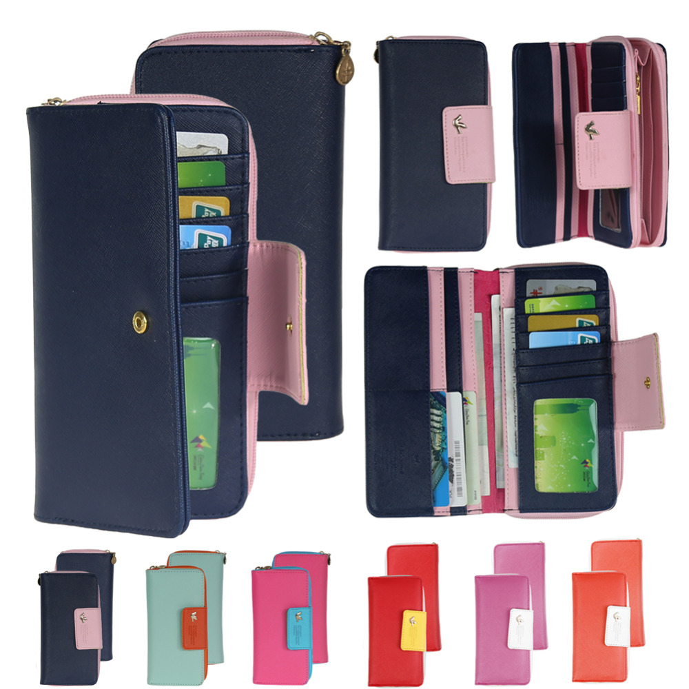 Large Capacity Women Wallet Leather Card Coin Holder Money Clip Long Clutch Phone Wristlet Trifold Zipper Cash Female Purse
