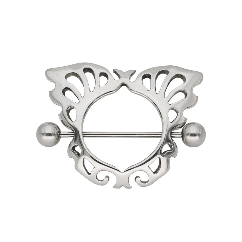 New Arrive Body Piercing Jewellery 316 Stainless Steel Crystal Skull Sexy Nipple Ring -1709
