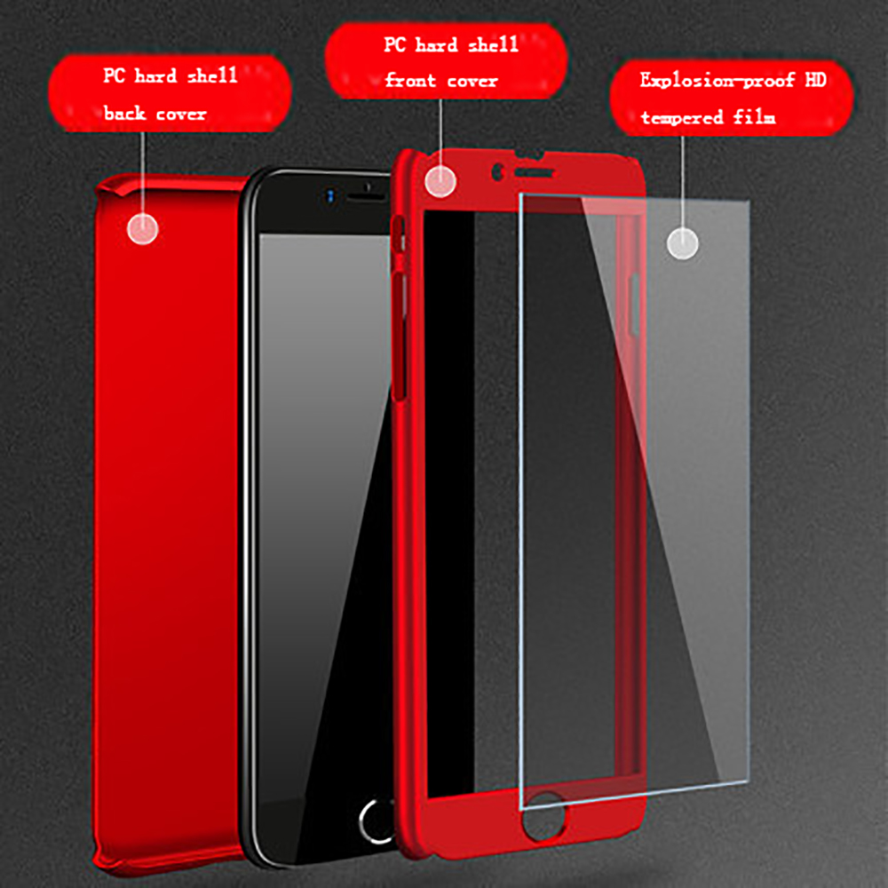 360 Full Body PC Hard Slim Protective Phone Case For iPhone 7 8 Plus XS MAX XS XR X 8 7 6 6s 5 Tempered Glass Screen Protector in Fitted Cases from Cellphones Telecommunications