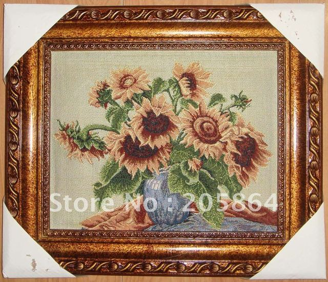 Hot sale small size wall carpet,sunflower,fabric pictures,decoration picture