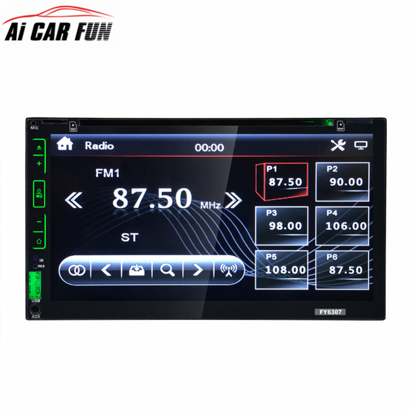 FY6307 Car Video Player 6.95 inch Touch Screen Wireless Remote Control 2-DIN Car In Dash Radio Bluetooth DVD CD Player 9 inch car headrest dvd player pillow universal digital screen zipper car monitor usb fm tv game ir remote free two headphones
