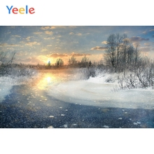 Yeele Winter Landscape Sunrise Frozen River Snow Photography Backdrops Personalized Photographic Backgrounds For Photo Studio