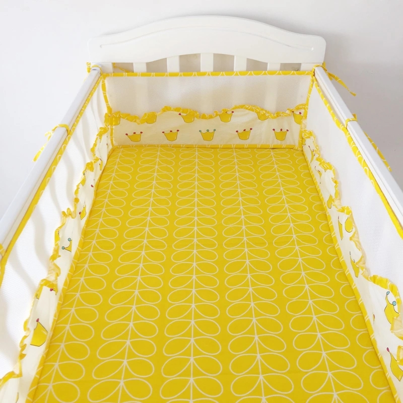 Breathable One-piece Baby Bedding Bumper In The Crib 180*30cm Newborn Cotton Linen Cot Bumper Lace Design Baby Bed Protector