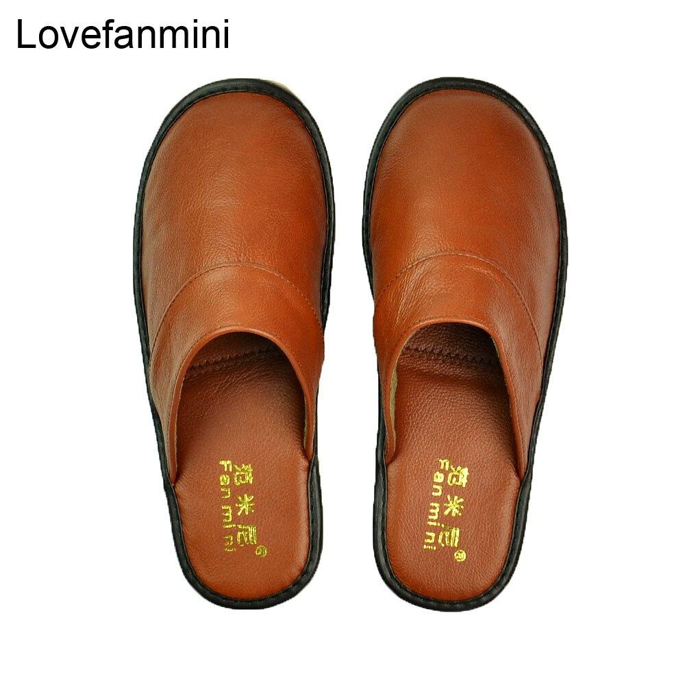 Image 3 - Домашние тапочки из натуральной коровьей кожи; Нескользящая обувь для мужчин и женщин; Модные повседневные тонкие туфли; TPR; Мягкая подошва; Сезон весна осень; 519Тапочки   -