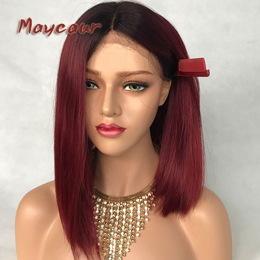 Us 45 9 10 Off Maycaur Short Bob Hair Synthetic Lace Front Wigs For Women Black Root Red Ombre Color Hair Lace Wigs With Natural Hairline In