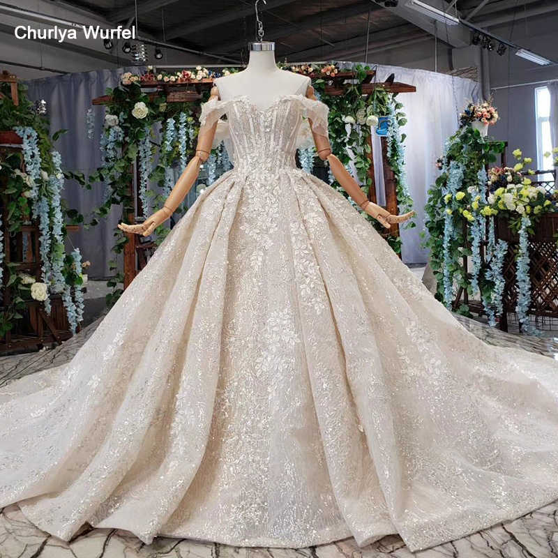 HTL510 off shoulder wedding dress 2019 shiny sweetheart appliques bridal gowns with train vestido de noiva princesa com brilho