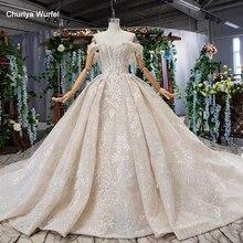 HTL510 off shoulder wedding dress 2019 shiny sweetheart appliques bridal gowns with train vestido de noiva princesa com brilho