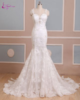 Waulizane Elegant Sweetheart Mermaid Wedding Dresses Backless Spaghetti Straps Beadings Pearls Appliques Lace Bride Gowns