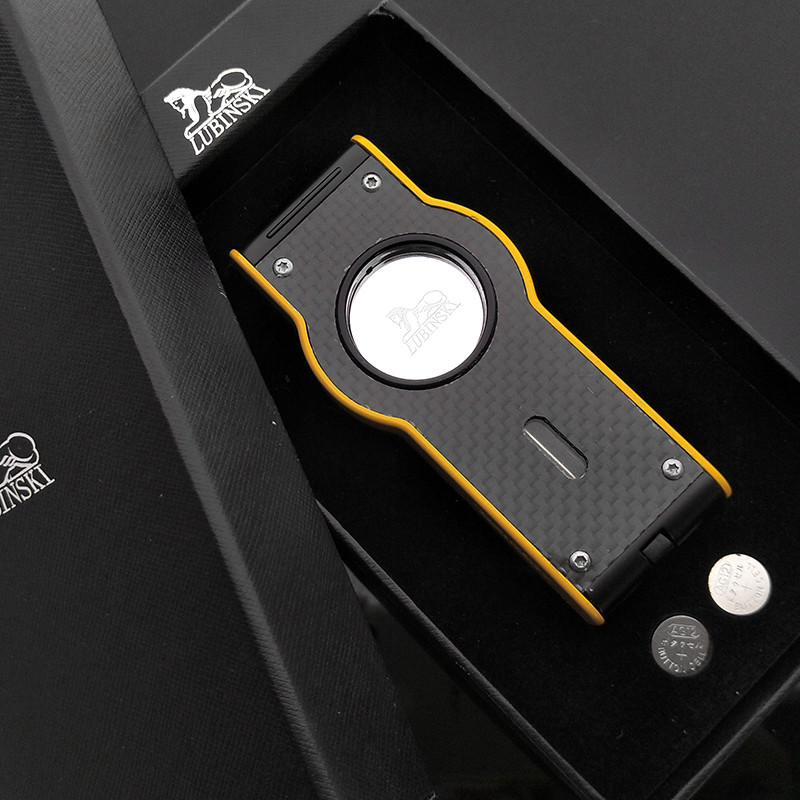 Lubinski Yellow Laser Touch Induction 4 Torch Jet Flame Cigar Lighter