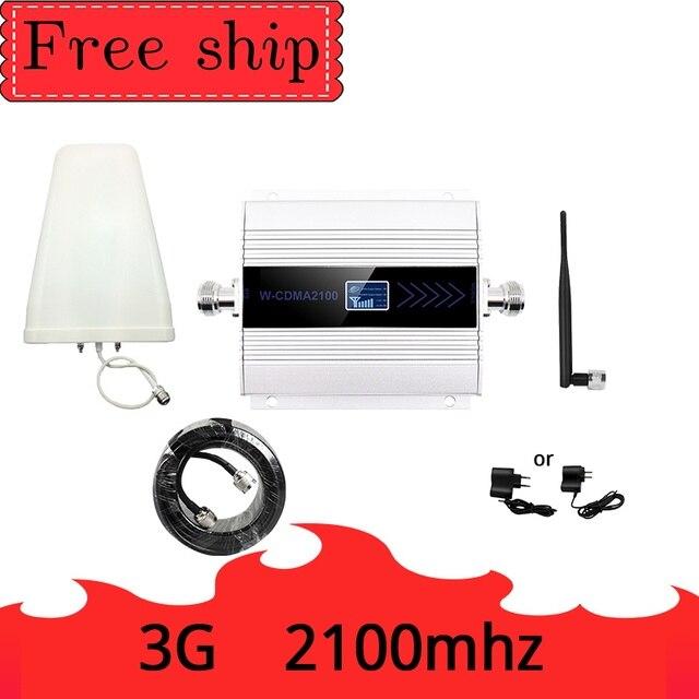 3G Ripetitore 2100MHz מהדר LCD WCDMA 2100 MHZ נייד אותות בוסטרים מגבר טלפון סלולרי מגבר 5dbi אנטנת שוט