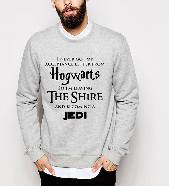2017 autumn winter men Hogwarts  hoodies male Becoming A Jedi sweatshirts hip hop style tracksuit brand pullovers pp