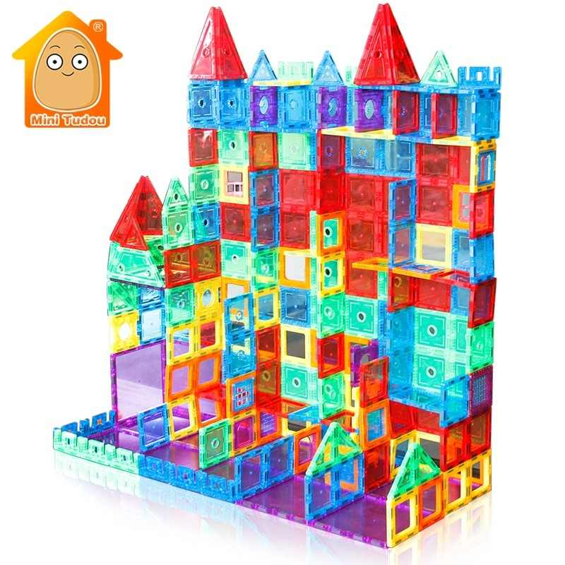 24-98PCS Transparent Magnetic Tiles Building Mini Magnetic Blocks Solid 3D Magnetic Block Building toys for Children Bricks