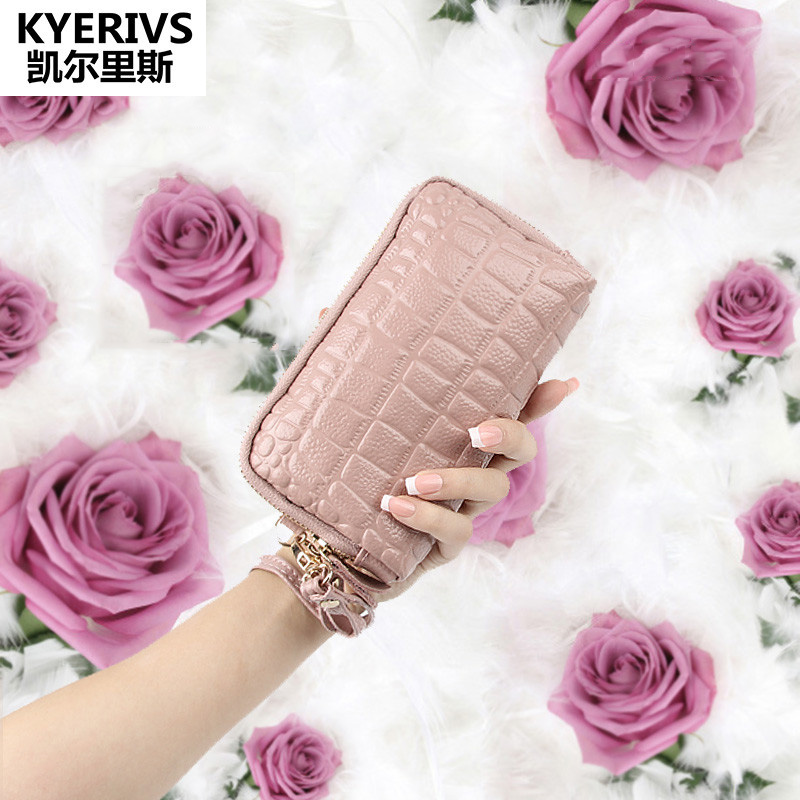 Brand Fashion Women Wallets Double Zipper Split Leather Wallet Women Card Holder Famale Wallet Clutch Purse