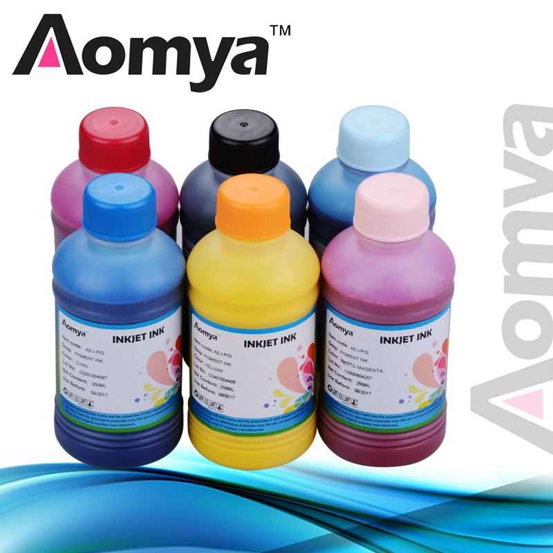 US $64 9 18% OFF|Aomya 250ml x 6 bottles, Any 6 colors Pigment Ink Digital  Printing ink For EPSON-in Ink Refill Kits from Computer & Office on