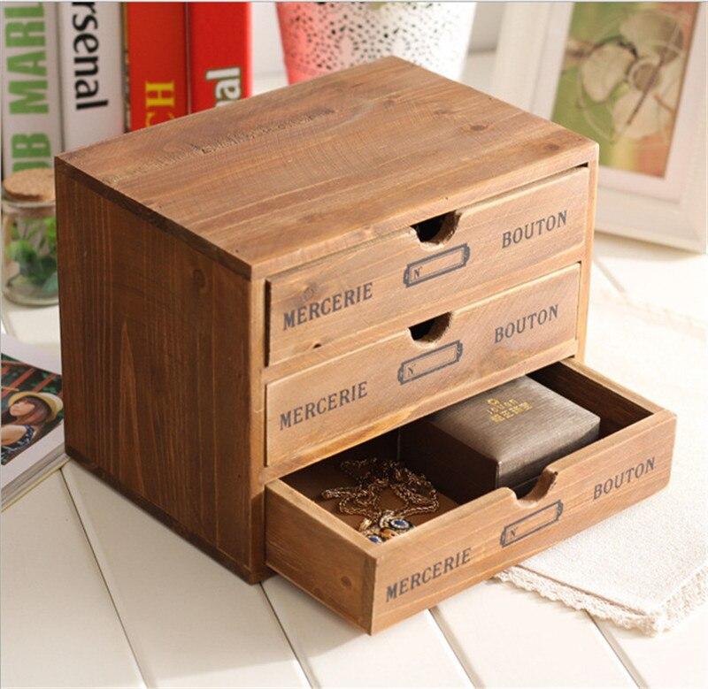 Rangement ménager organisation décoration bois boîte à cosmétiques Vintage en bois mallette de rangement tiroir maquillage boîte boîtes de rangement - 4