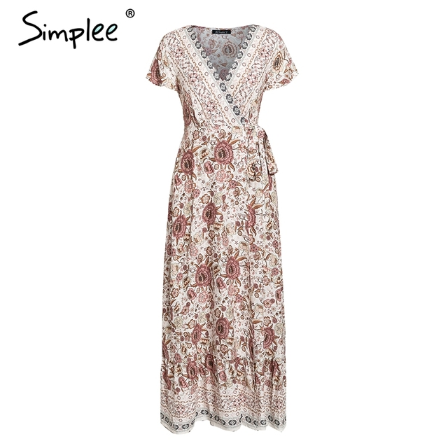 Simplee Vintage Floral Print Summer Dress Ruffle Split Sash Sexy Long Dress Bohemian Women Dress Holiday Beach Dress Vestidos by Simplee