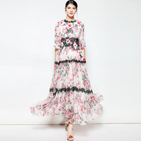 Fast selling cross border women's clothing wholesale 2018 spring and summer new lace print dress large dress