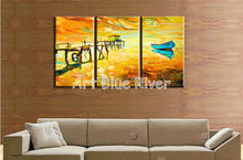 3 piece modern canvas wall art handmade picture boat sea knife paint oil painting canvas for decoration bedroom living room