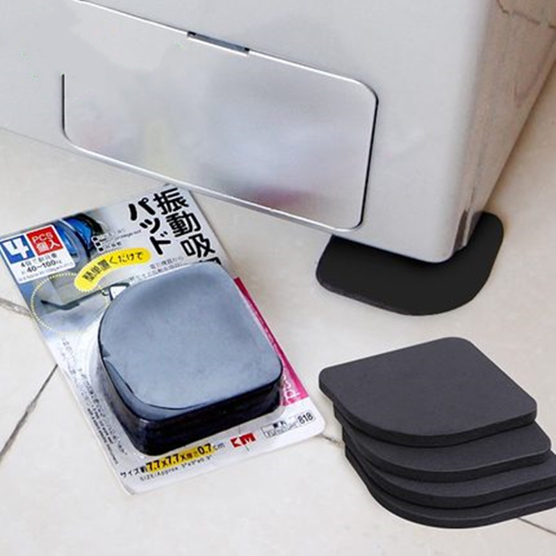 2set=8pcs! Black Furniture Chair Desk Feet Protection Pads EVA Rubber Washing Machine Shock Non-slip Mats Anti-vibration Noise