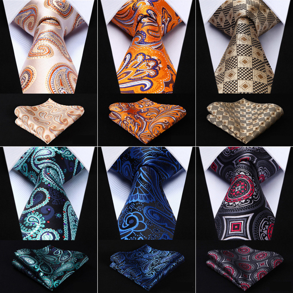 Men Tie Pocket Square Classic Party Wedding Paisley 3.4