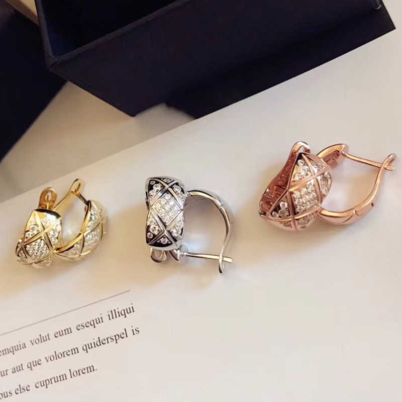 Luxury brand jewelry Grain cut stud earrings for women rose gold silver cz Geometric Lozenge earring 925 sterling-silver jewelry