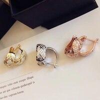 Luxury brand jewelry Grain cut stud earrings for women rose gold silver cz Geometric Lozenge earring 925 sterling silver jewelry