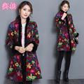 2016 long Chinese manteau femme  clip cotton collar cheongsam dress coat bomber jacket women basic coats doudoune femme