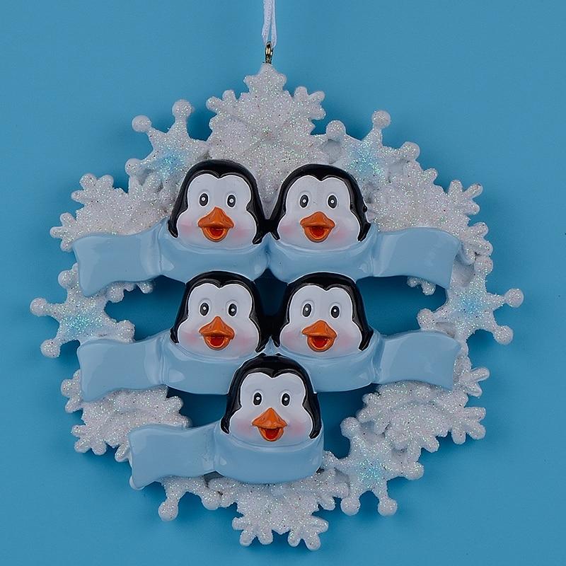 Penguin rodina 5 pryskyřice visí vánoční ozdoby s lesklou vločku jako řemesla suvenýry pro osobní dárky Domácí výzdoba  t