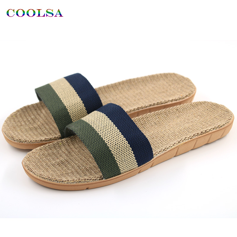 New Arrivals Summer Linen Men Slippers Brand Flat Non-Slip Stripe  Hemp Basic Slides Home Sandals Man Charm Fashion Beach Shoes coolsa men s non slip linen slippers zapatos hombre eva soles canvas cotton fabric vamp slippers men s slides fashion flip flops