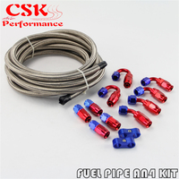 AN4 Stainless Steel Braided Hose AN 4 AN + Fitting Hose End Adaptor KIT