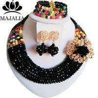 Nigerian wedding African beads jewelry set crystal Black necklace bracelet earrings A well known brand Majalia Y 46