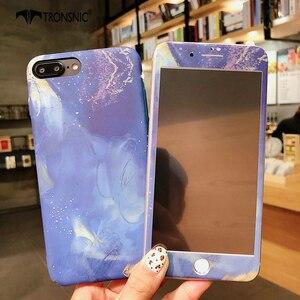 Image 3 - Чехол TRONSNIC с цветами для iPhone X, XS MAX, XR, синий, розовый, закаленное стекло, пленка для iPhone 6, 6S, 7, 8 Plus, Роскошный Жесткий матовый чехол