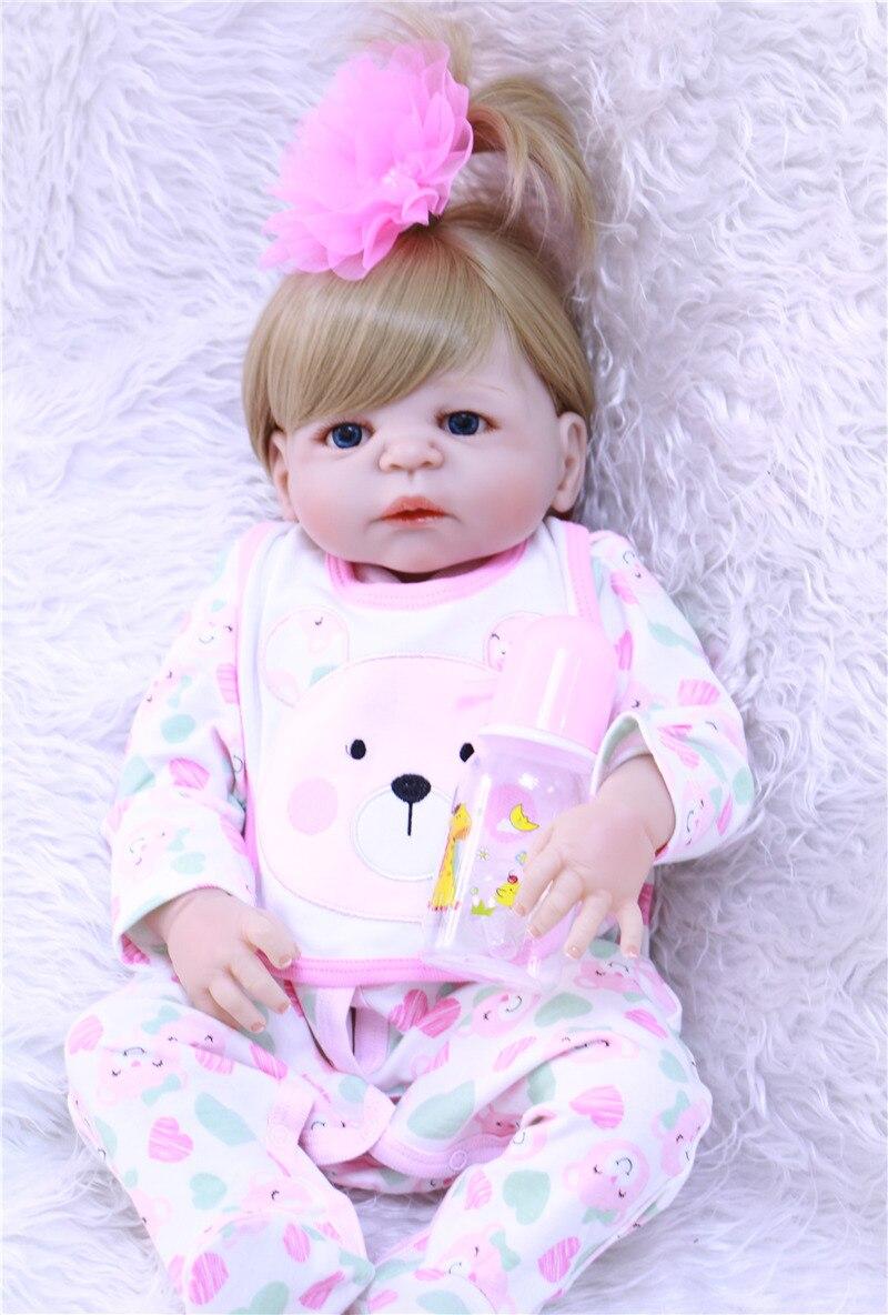 55cm corps entier Silicone Reborn bébé fille poupée jouets jouer maison bain jouet nouveau-né bébé anniversaire cadeau bebe princesse bonecas