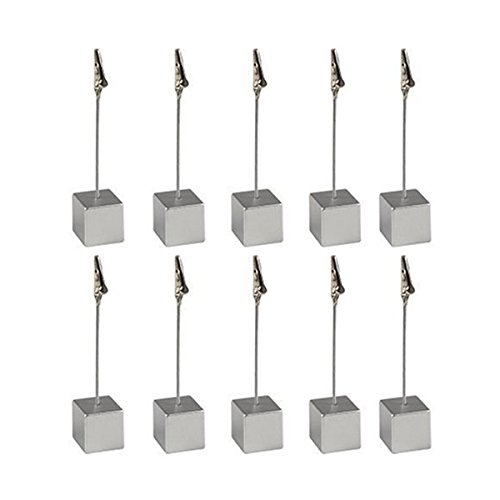 Card Holder Cube Memo Holder Card Clip Photo Office Holder Note - 10 Pieces (Silver)