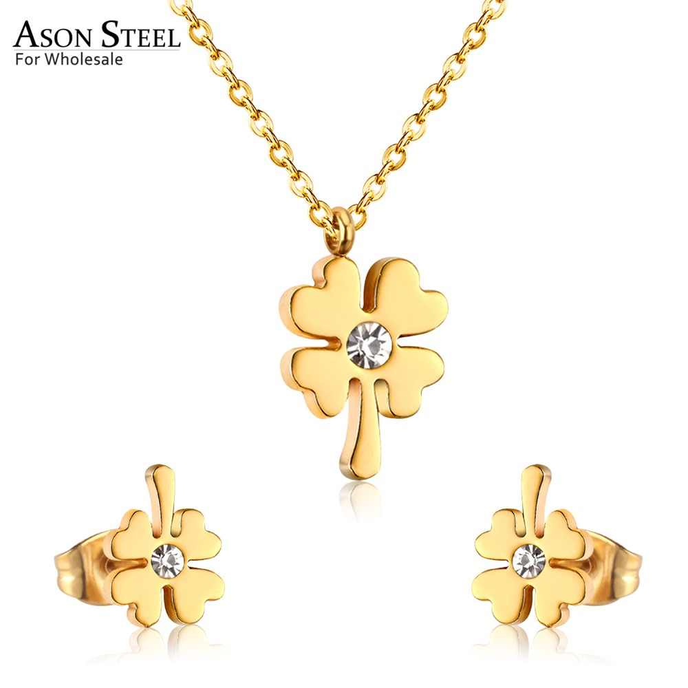 ASONSTEEL Flower Cubic Zirconia Necklace Earring Sets Female Bijoux Gold/Silver Color Rolo Link Chain Pendant Necklaces Wedding