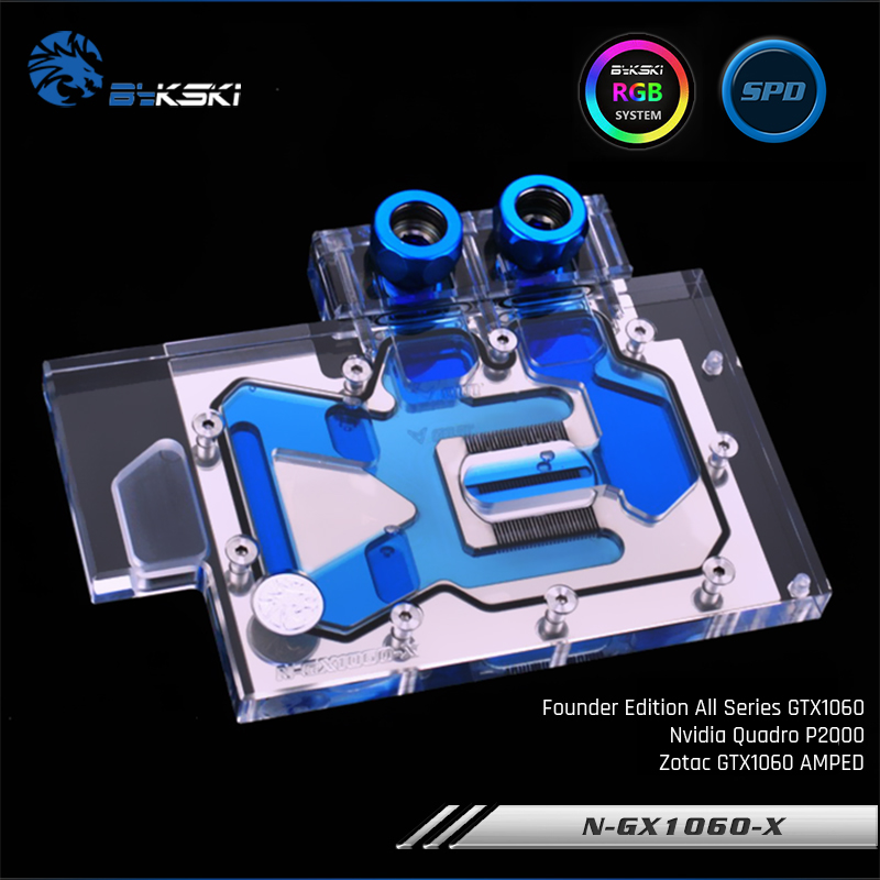 Bykski N-GX1060-X, Full Cover Graphics Card Water Cooling Block RBW for Founder Edition All Series GTX1060, Nvida Quadro P2000 image