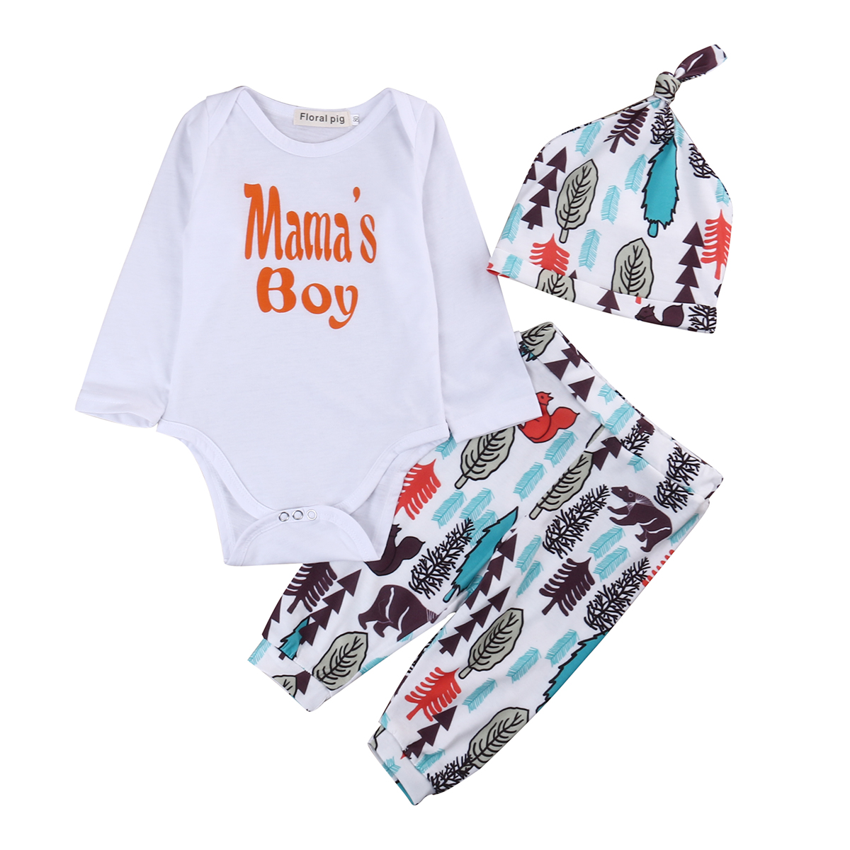 3 pcs bebê Recém-nascido Da Criança Infantil Do Bebê Da Menina do Menino  Roupas menino da mamã Romper Manga Longa Encabeça + Calças Chapéu Roupas  conjunto a76b1cf404