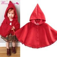Warm Winter Baby Girl Kid Red Hooded Cloak Poncho Shawl Cape Coat Jacket Outwear