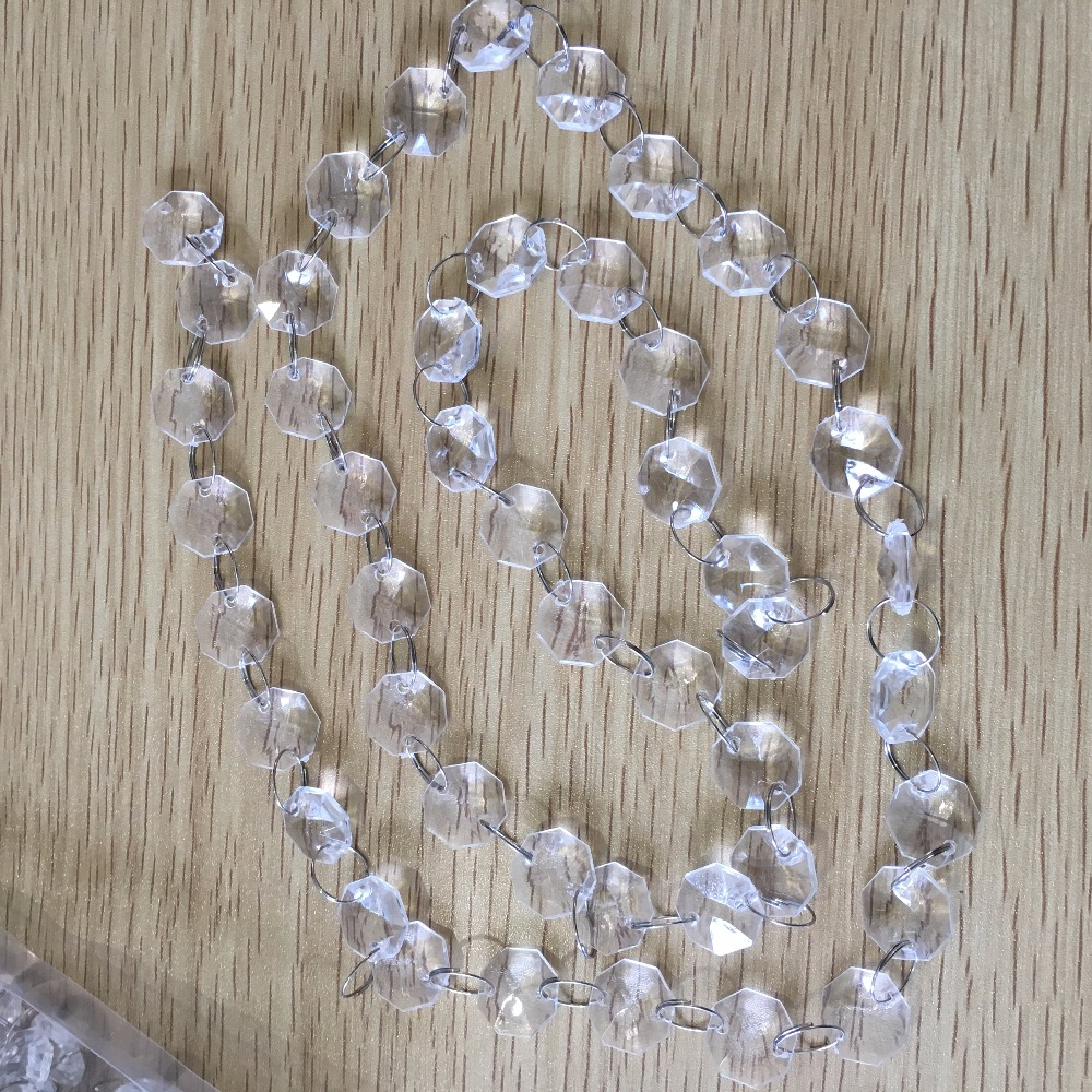 400 meters Free Shipping, Garland 14MM Acrylic Octagonal Beads Garland Strand , Wedding Party Decoration,